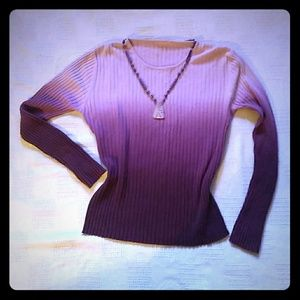 Gorgeous Vintage Purple Ombre Ribbed Sweater